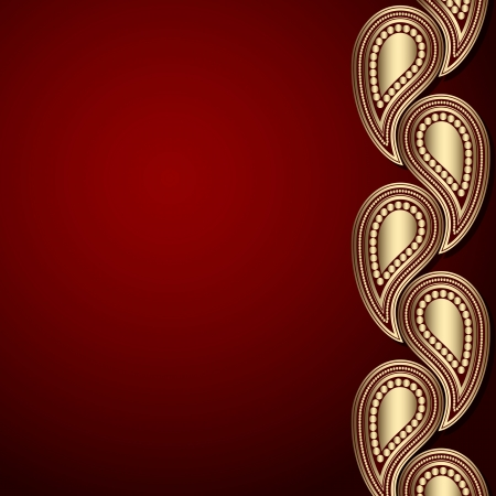 Red template with gold paisley ornament Vector