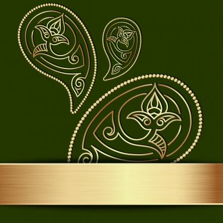 Green template with gold paisley ornament Vector