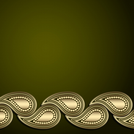 Green template with gold paisley ornament