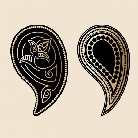 persian culture: Gold decorative paisley elements Illustration