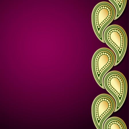 インド: 金のペーズリー飾りの紫と緑のテンプレート  イラスト・ベクター素材