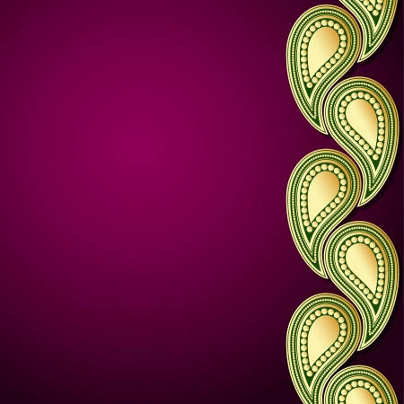 india pattern: Purple and green template with gold paisley ornament