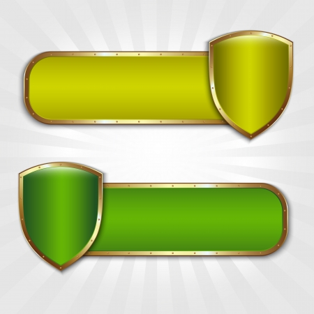 Two banners with shields and place for text Stock Vector - 14646368