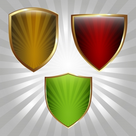 Set of three shields with blank space for text