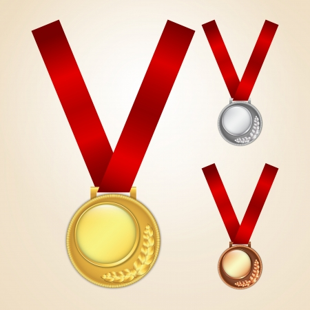 Set of golden, silver and bronze medals Stock Vector - 14742922