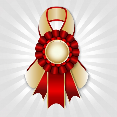 Red vector prize ribbon with place for text Illustration