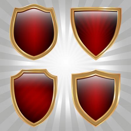 escudo militar: Juego de cuatro escudos de oro y rojo Vectores