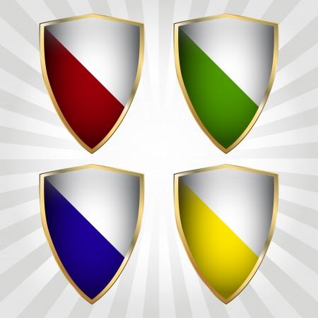 Set of four vector shields Vector