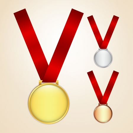 silver ribbon: Set of golden, silver and bronze medals Illustration