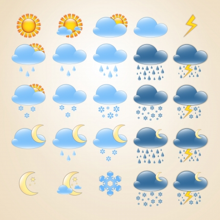 Set of 25 high quality detailedweather icons for day and night Ilustrace