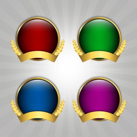 Set of four round quality emblems  イラスト・ベクター素材