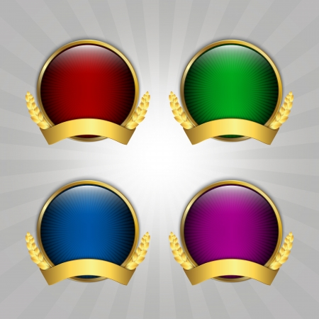 gold medal: Set of four round quality emblems Illustration