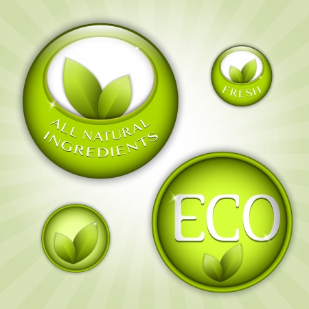 Set of green round signs. Eco, green and natural ingredients Vector