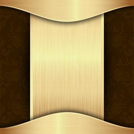 dorato: Oro e modello di sfondo marrone con posto per il testo Vettoriali