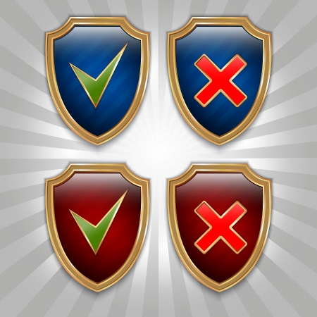shield set: Yes and No signs in shield set Illustration