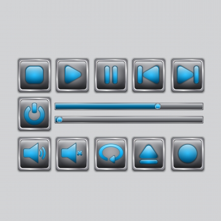 Glossy Blue Media player elements Vector