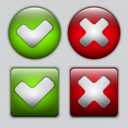 Set of Yes and No vector glossy buttons  Vector