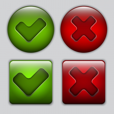 Set of Yes and No vector glossy buttons Stock Vector - 14959715