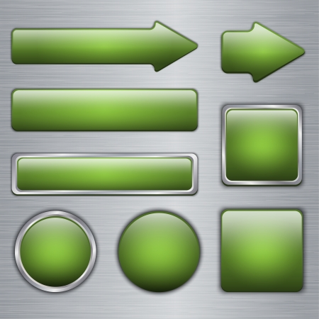 Glossy Green web buttons Vector
