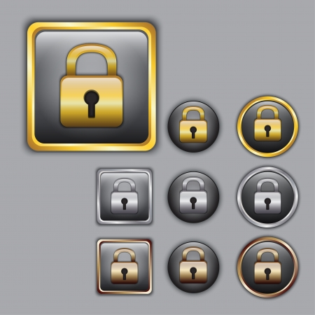 Padlock icons in gold, silver and bronze color Vector