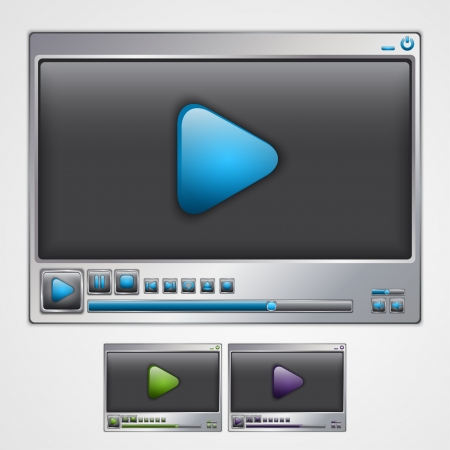 solver: Video player interface template. Vector illustration