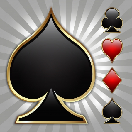 ace of clubs: Glossy card suit icons