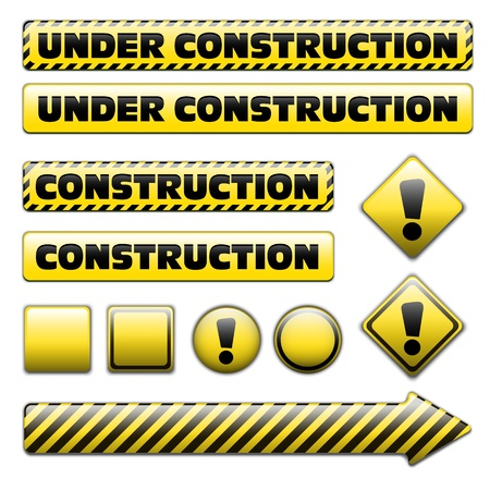 constuction: Set of striped under constuction signs