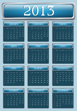2013 Blue Calendar, Sunday start day Vector