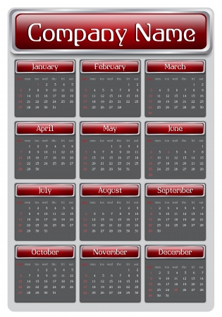 2013 Red Calendar, Sunday start day Vector