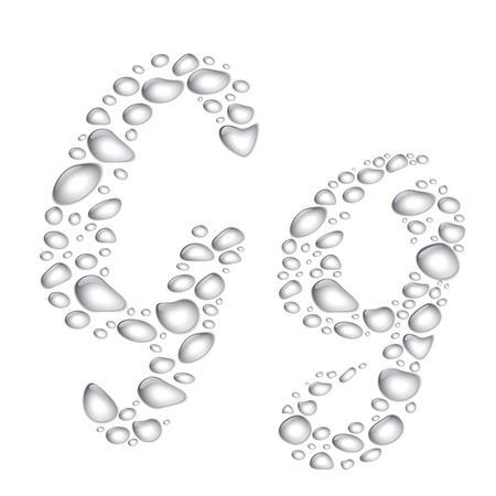 Vector Water drop alphabet, letter Gg Vector