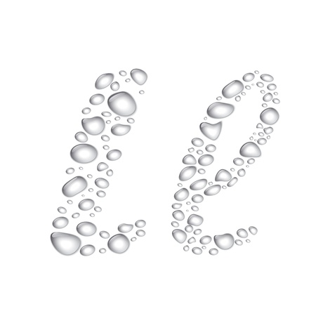Vector Water drop alphabet, letter Ll Vector
