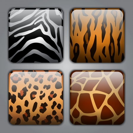 Set of icons with different types of wild animal fur textures