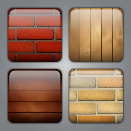 wood textures: Set of icons with different types of brick and wood textures