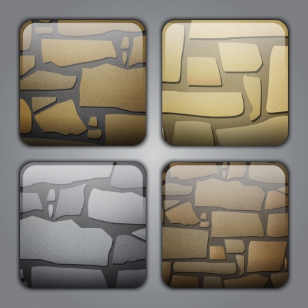 Set of icons with different stone textures Illustration