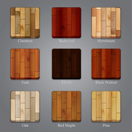 Set of icons with different types of wood textures Illustration
