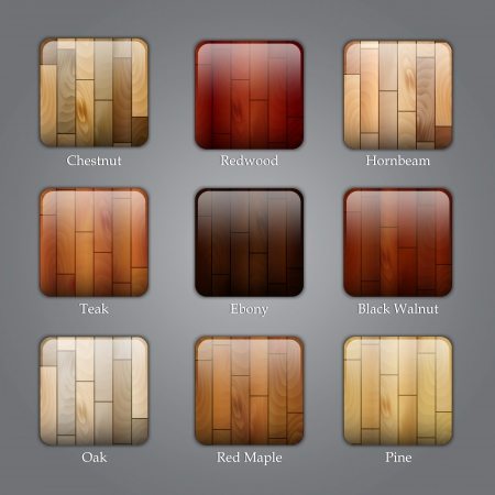 walnut tree: Set of icons with different types of wood textures Illustration