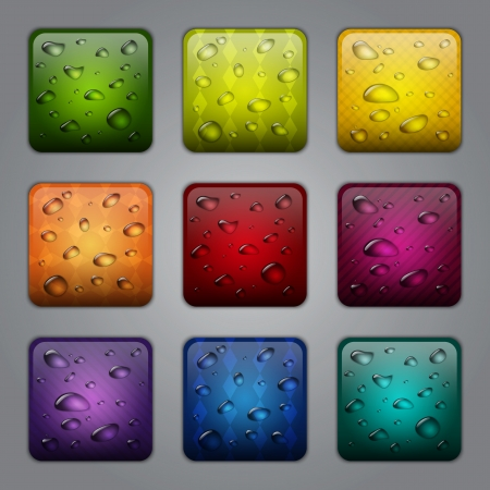 Textured application buttons with water drops