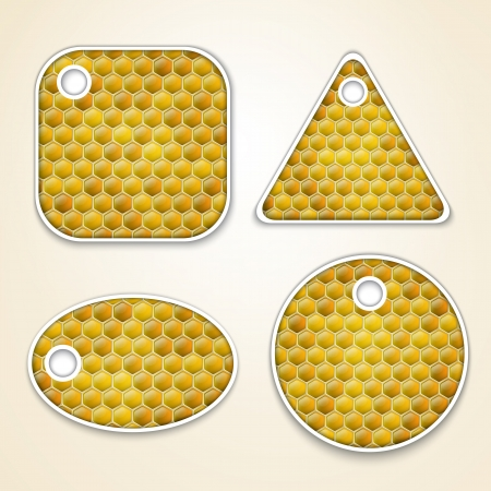 honey combs labels Stock Vector - 17583302