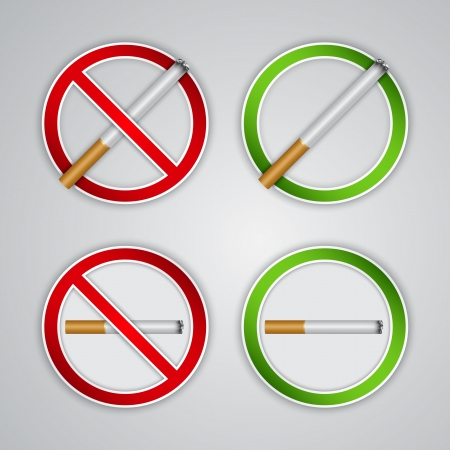 No smoking and Smoking area signs, highly detailed   Vector