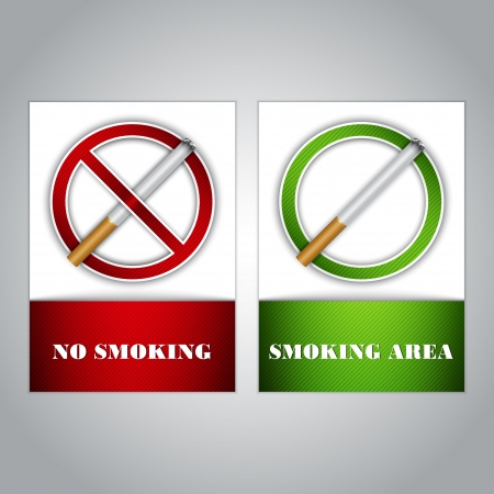 No smoking and Smoking area signs, highly detailed   Stock Vector - 16645786