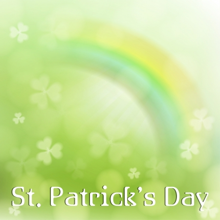 St. Patricks Day background  with clover and rainbow Vector