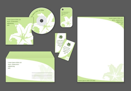 lily vector: Stationery design with lily, vector set, easy editable