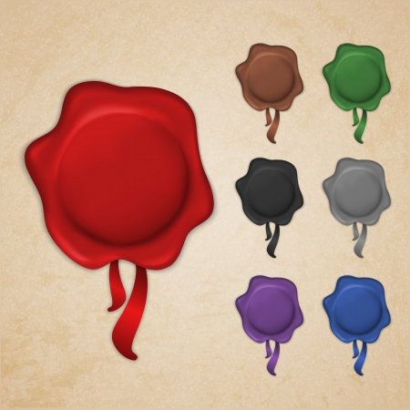 Set of wax seals with ribbons in different colors Vector