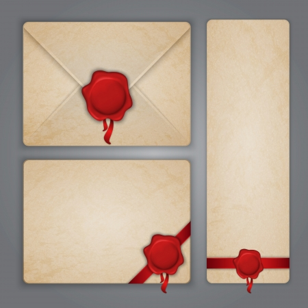 Aged paper envelope and postcards with ribbons wax seals. Illustration contains gradient mesh Illustration