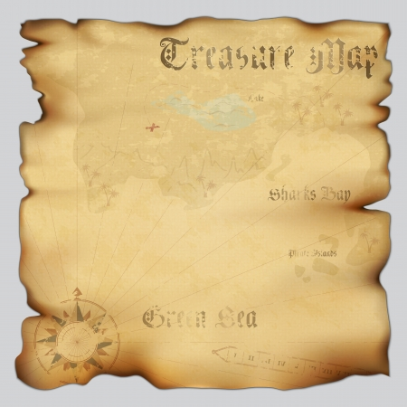 pirata: Antiguo mapa del tesoro con rosa de los vientos br�jula. Altamente detallado. Ilustraci�n contiene malla de degradado
