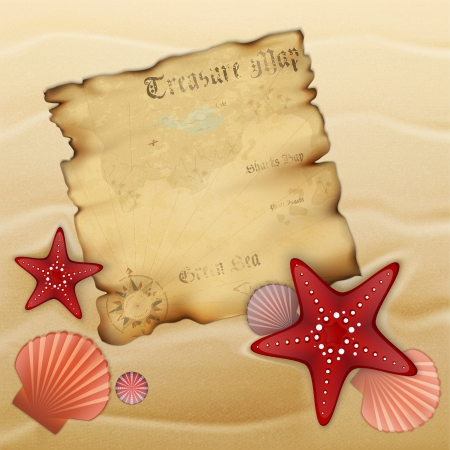 Old treasure map on sand with starfishes, shells and urchin. Illustration contains gradient mesh