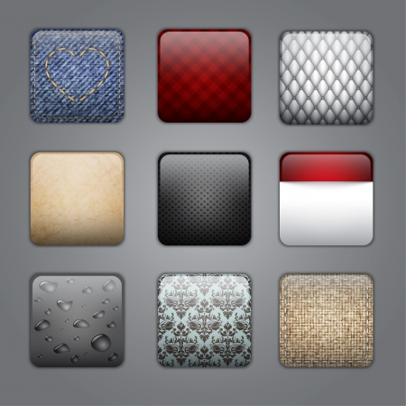 application buttons with different textures. Illustration contains gradient mesh Vector