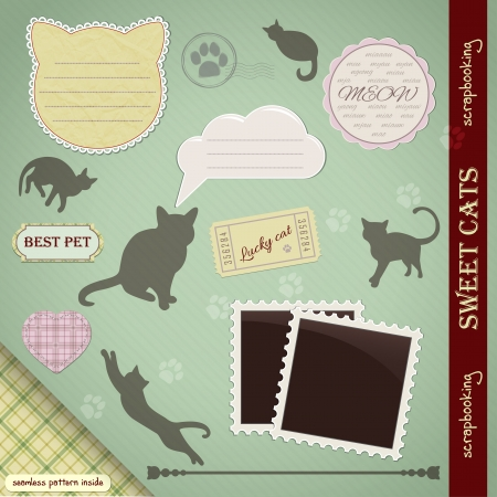 Scrapbooking Set: Sweet Cats. Silhouettes, frames, labels, seamless pattern Vector