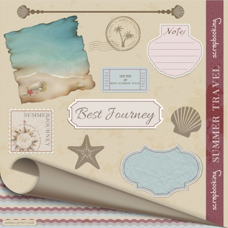Scrapbooking Set:Summer Travel. Illustration contains gradient mesh Vector