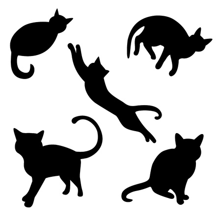 Set of cat silhouettes